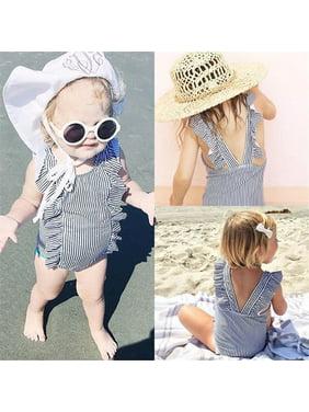 Iuhan Toddler Kids Baby Girl Swimsuit Ruffles Bathing Suit Bikini Striped Swimwear