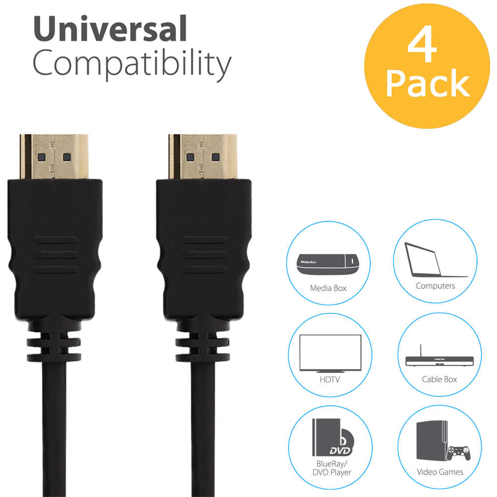 Fosmon 4 Pack - 6FT HDMI to HDMI 30AWG High Speed HDMI Cable