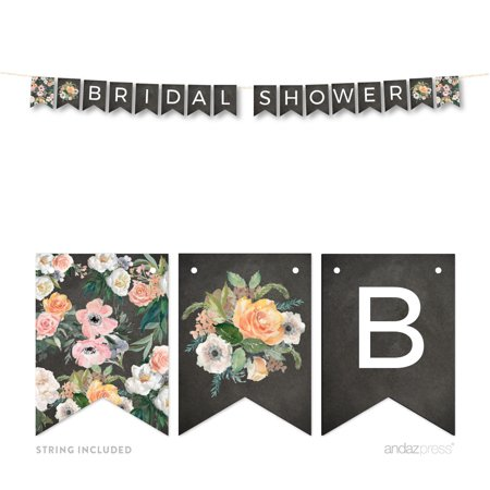 Peach Chalkboard Floral Garden Party Wedding Collection, Hanging Pennant Party Banner with String, Bride to Be](Balloon Bride)