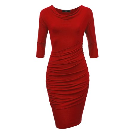 MBJ WDR1185 Womens Cowl Neck 3/4 Sleeve Pleated Detail Dress M RED ()