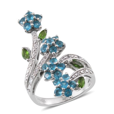 925 Sterling Silver Platinum Plated Marquee Chrome Diopside Multi Gemstone Ring For Women Cttw (Platinum Plated Multi Stone Ring)