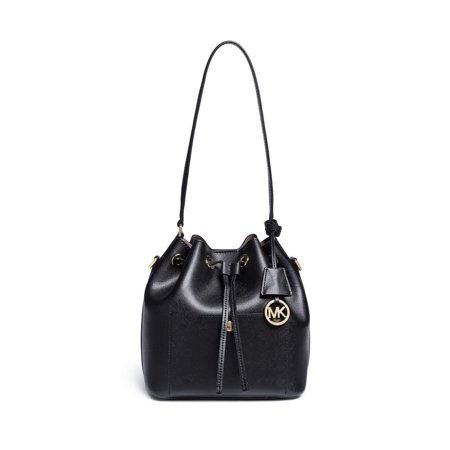 New Michael Kors Greenwich Black Saffiano Leather Medium Bucket Bag Handbag
