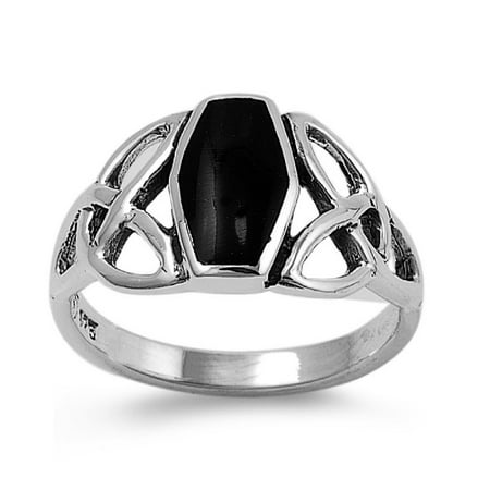 Shaped Simulated Onyx Stone Wicca Triquetra Coffin Ring Sterling Silver
