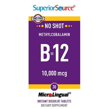 Superior Source No Shot Methylcobalamin Vitamin B12 10,000 mcg, MicroLingual® Tablets, 30 Count ()