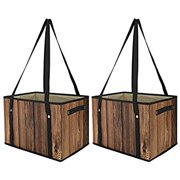 Reusable Grocery Shopping Bags, [2 Pack] Heavy Duty Tote Bags Shopping Boxes Storage Cubes Bins Camping Outdoor Picnic Bag with Shoulder Straps and Handles, Foldable, Durable - Wood Grain