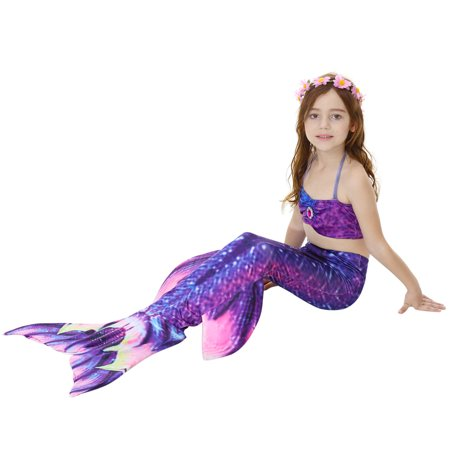 340268b6ec ... Yosoo 3pcs Kids Girls Swimsuit Bikini Set with Mermaids Tail Sea-maid  Swimming Costumes