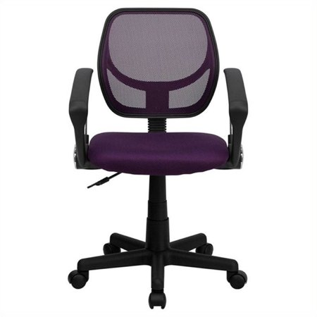 Scranton & Co Mid-Back Mesh Office Chair with Arms in Purple