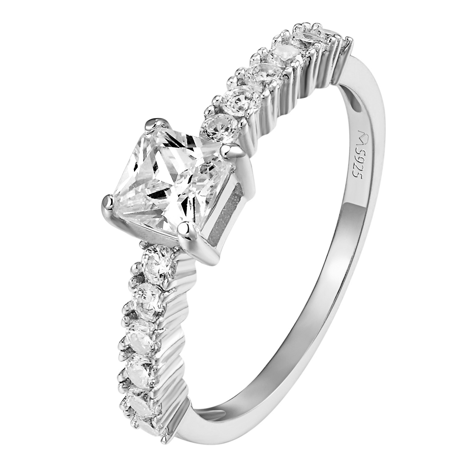Solitaire Womens Engagement Ring Princess Cut Wedding Prong Set Sterling Silver