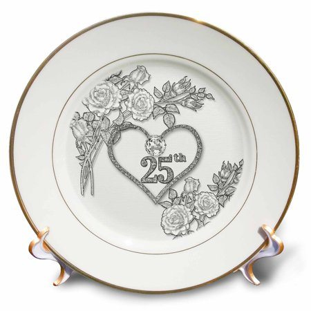 3dRose Silver Heart and White Roses 25th Anniversary for Wedding or Business - Porcelain Plate, 8-inch
