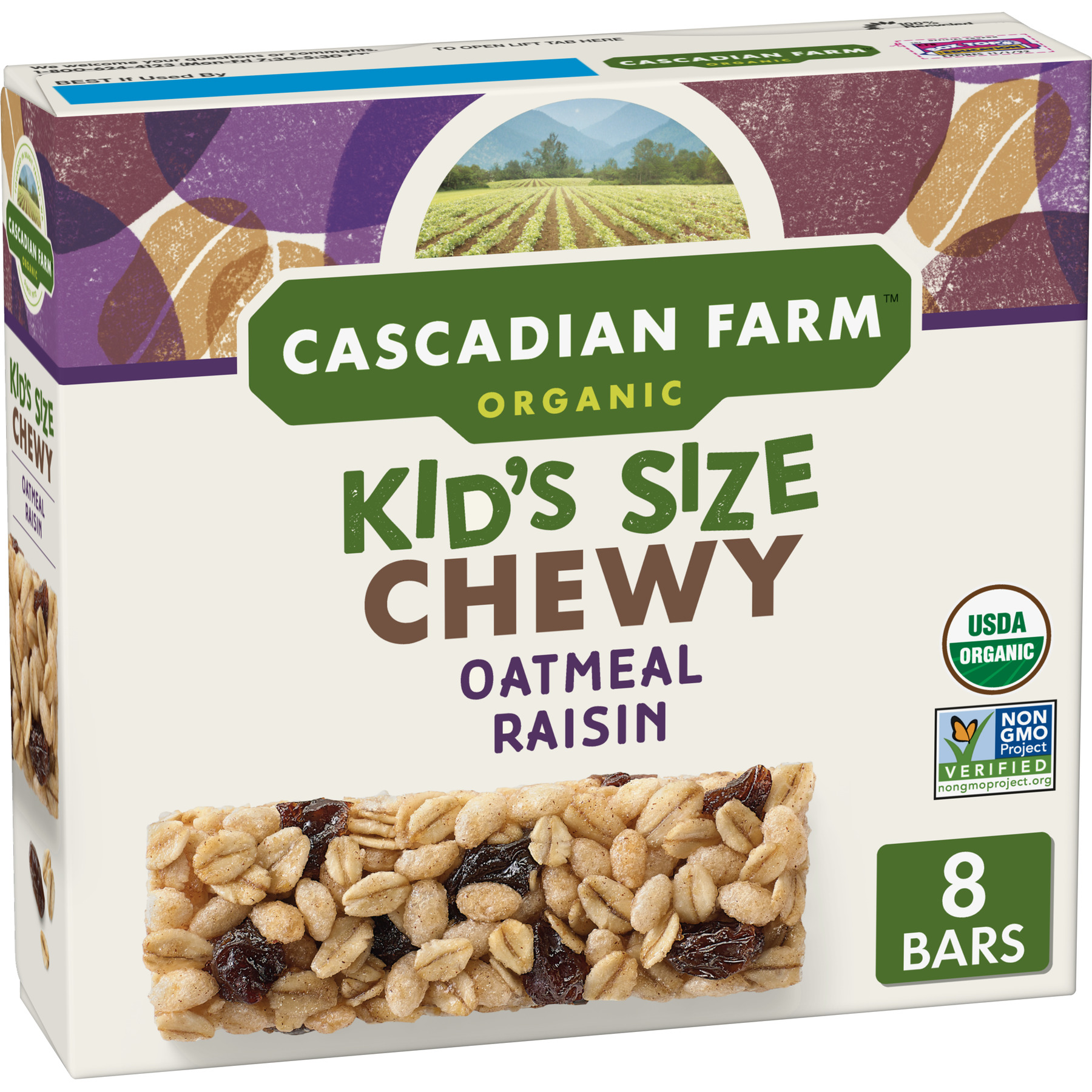 Cascadian Farm Organic Granola Bars Oatmeal Raisin Chewy 8 Bars
