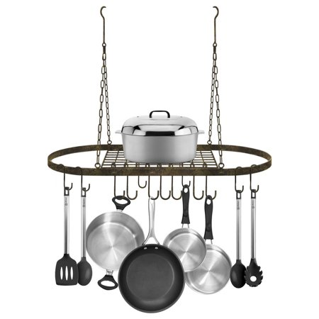 Low Ceiling Oval Pot Rack - Ceiling mounted Pot Rack with Hooks-Rustic