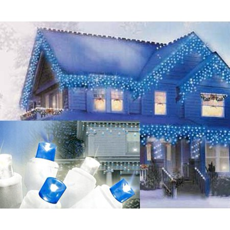 Set of 70 Pure White and Blue LED Icicle Christmas Lights - White