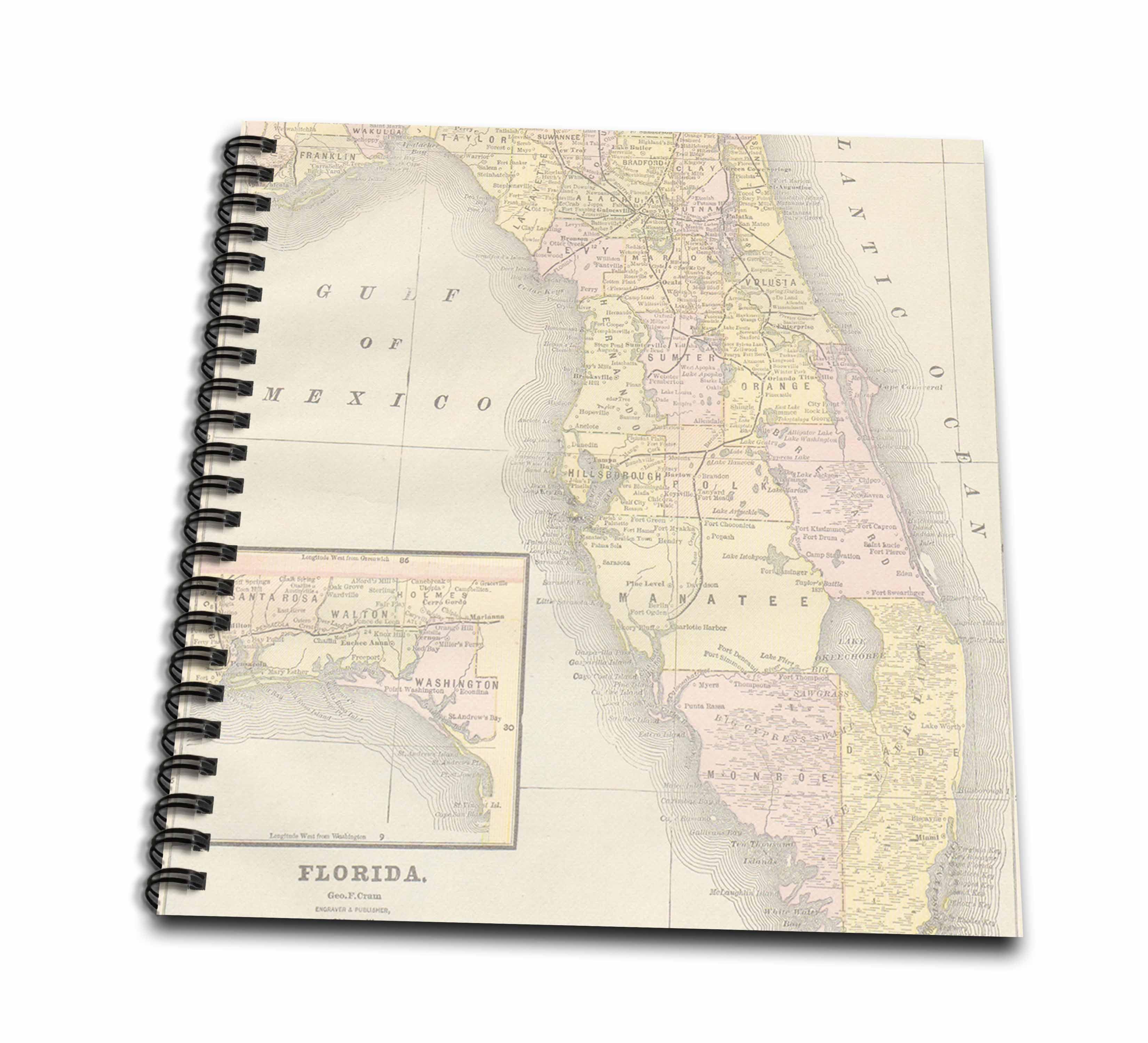 Florida Usa Map.3drose Vintage Florida Usa Map Mini Notepad 4 By 4 Inch Walmart Com