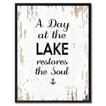 A Day At The Lake Restores The Soul Funny Quote Saying Canvas Print Picture Frame Home Decor Wall Art Gift (Mother's Day Art Ideas)