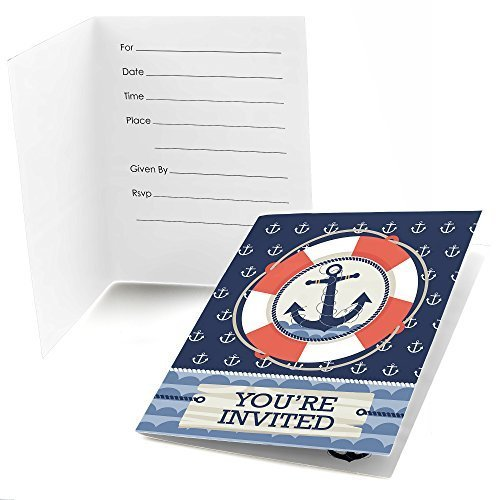 Ahoy - Nautical - Fill In Baby Shower or Birthday Party Invitations - Set of 24