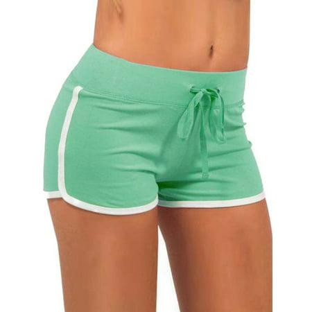 - JIMSHOP Summer Women Drawstring Cotton Yoga Sports Shorts Beach Pants
