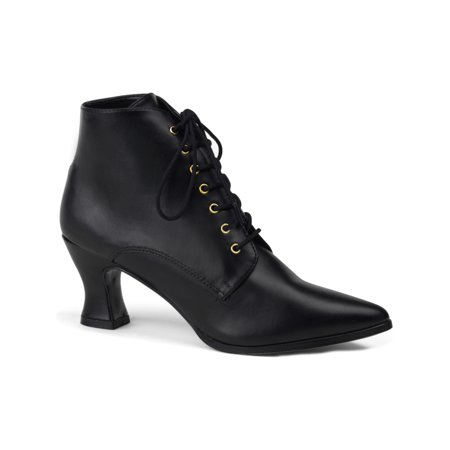 women's sexy victorian high heel low ankle boots costume dress up black