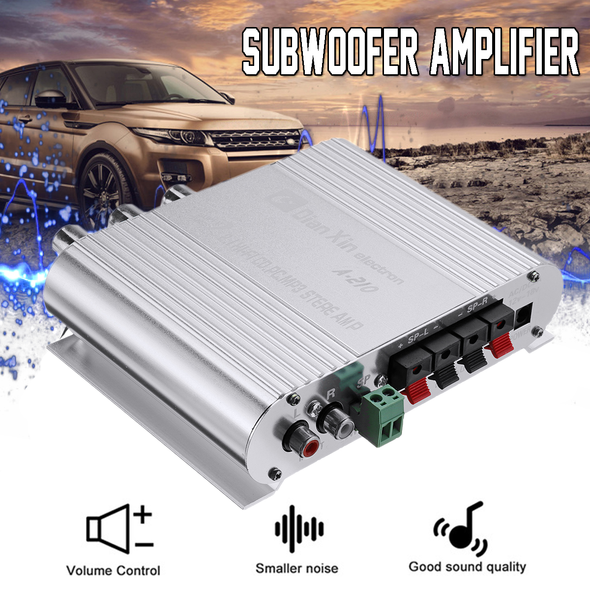 DX-210 12V 2.1CH 210W Car Motorcycle Bass Power Amplifier Hi-Fi MP3 Audio Stereo Car Accessories
