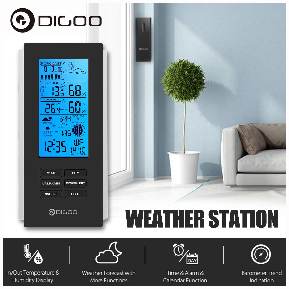 Digoo DG-TH6699 Wireless Weather Forecast Station Calendar Snooze Alarm Clock,Indoor Thermometer Hydrometer Temperature Humidity Barometer Display Monitor With Outdoor Sensor