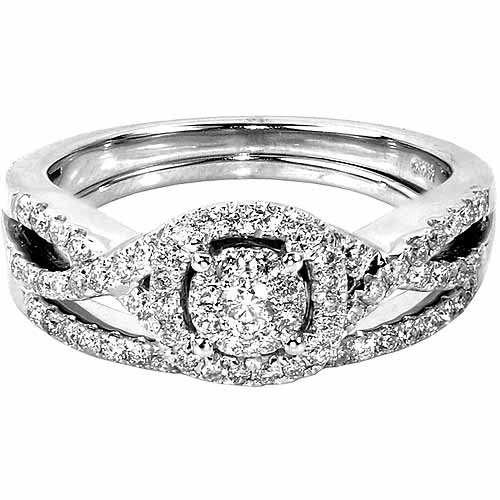 1/2 Carat T.W. Round Diamond 10kt White Gold Bridal Set