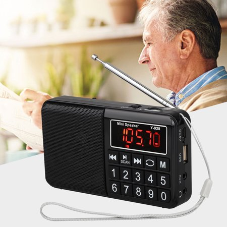 EEEkit Shortwave Radio Analog Radio Transistor FM Portable Radio Support TF Card Operated by Rechargeable Battery Loud Speaker for Older (Black)