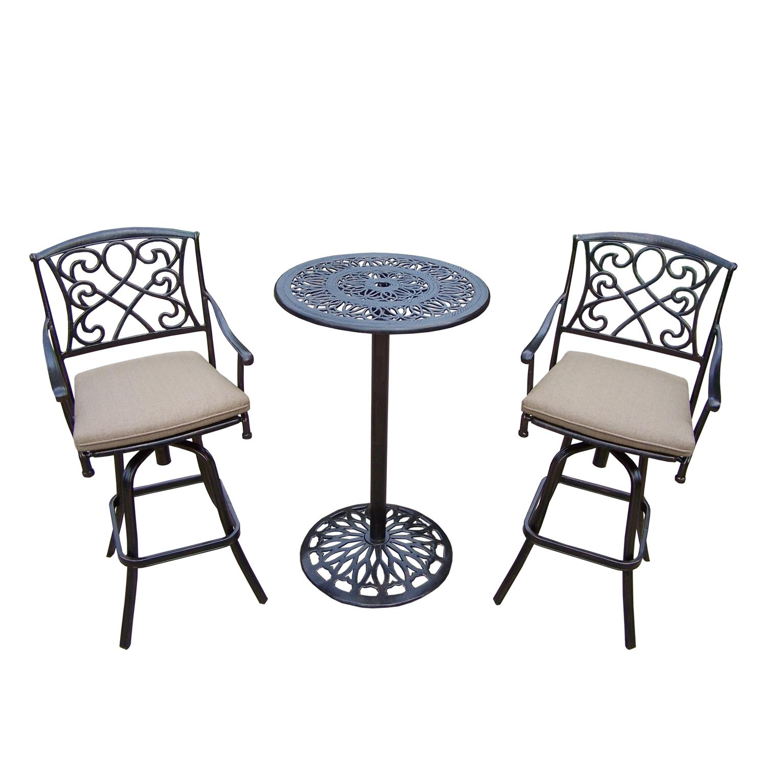 "44"" 3 Pc. Antiqued Bronze Colored Outdoor Patio Bar Set with Cushions"