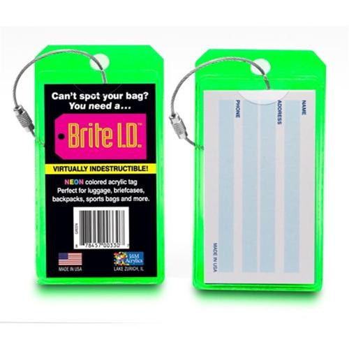 Brite I. D.  Luggage Tag Virtually Indestructible Thick Neon Tag - Green, Pack of 2