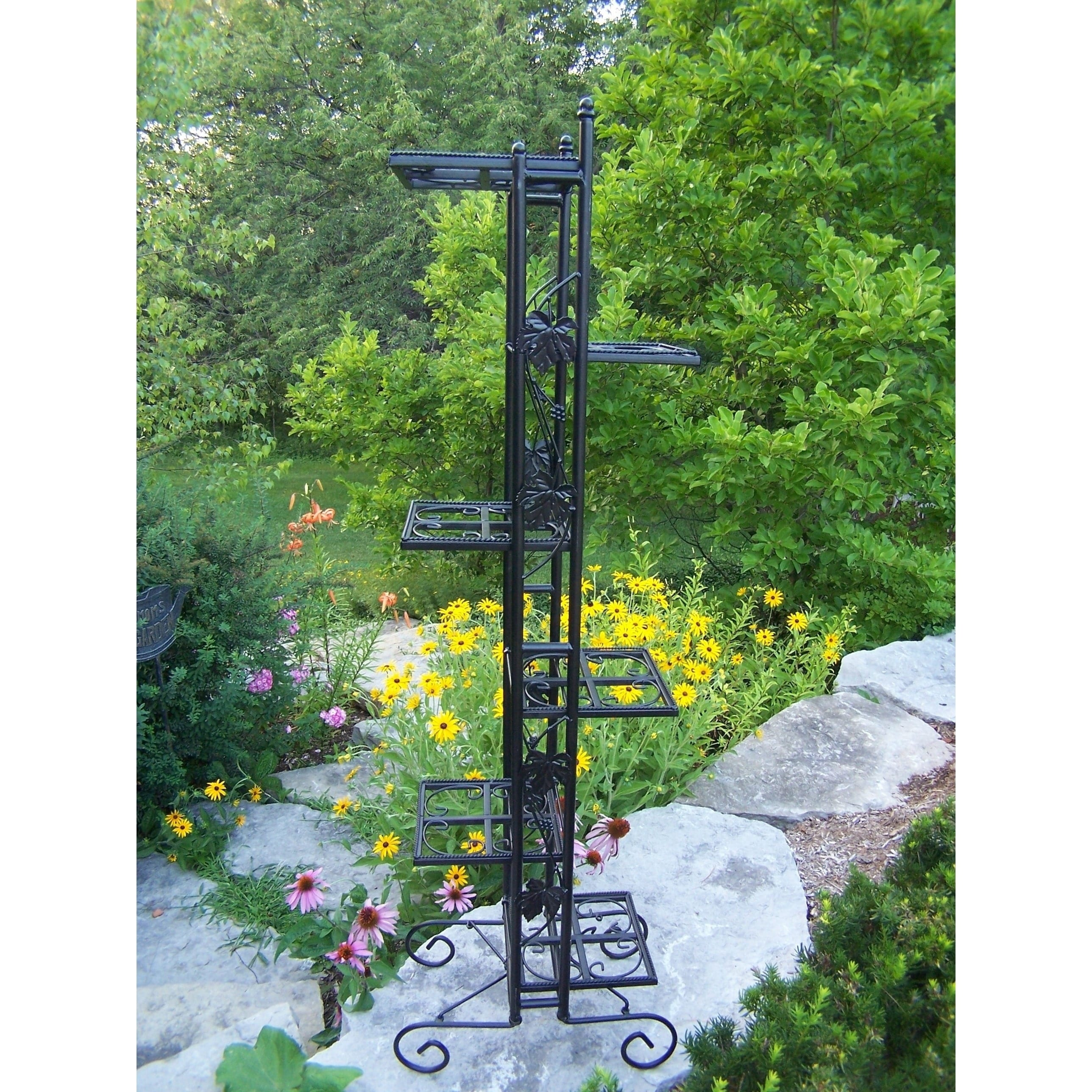 Oakland Living Corporation Black Wrought Iron 6-level 65-inch Plant Stand