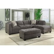 Emerald Home Trinton Gray Sectional with Block Feet And Button Tufted Seat Cushions And Sides