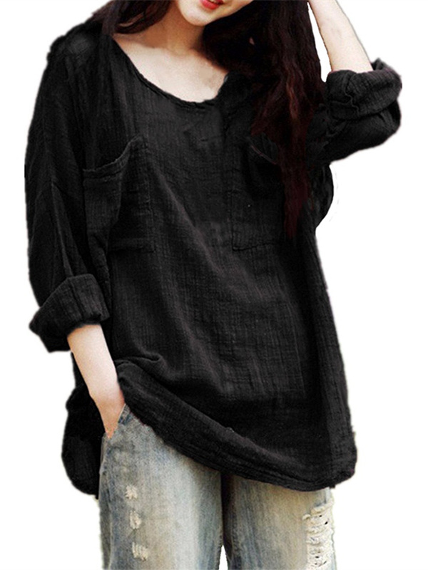 Womens Round Neck Long Sleeve Baggy Two Front Chest Pockets Blouses