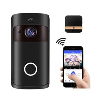 Smart Home WiFi Doorbell 1080P HD Security Camera with Two-Way Audio PIR Motion Detection IR Night Vision Wide Angle Lens Wireless Doorbell XF-IP007H-F Black with Black US Plug Chime