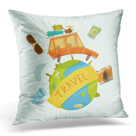 ARHOME Globe Travel Around The World Concept with Car Tickets and Camera Cartoon Booking Pillow Case Pillow Cover 20x20