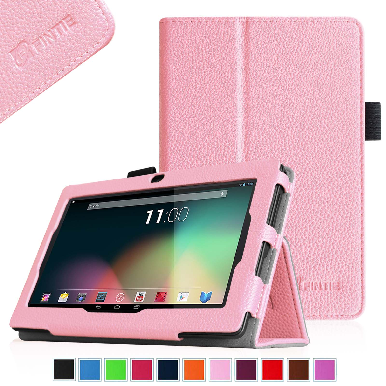 "Fintie Case for 7"" Tablet inclu. ProntoTec, Alldaymall, iRulu - PLEASE check the full compatible tablet list, Pink"