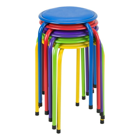 Primary Metal (Assorted Primary Colors Metal Stack Stools w/ Padded Seat)