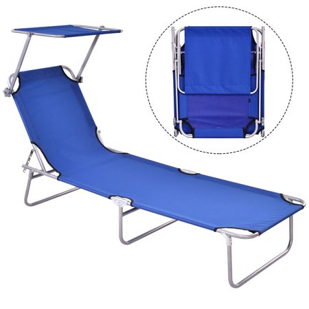 Gymax Foldable Sun Lounge Bed Chair Beach Recliner Seat Back Blue