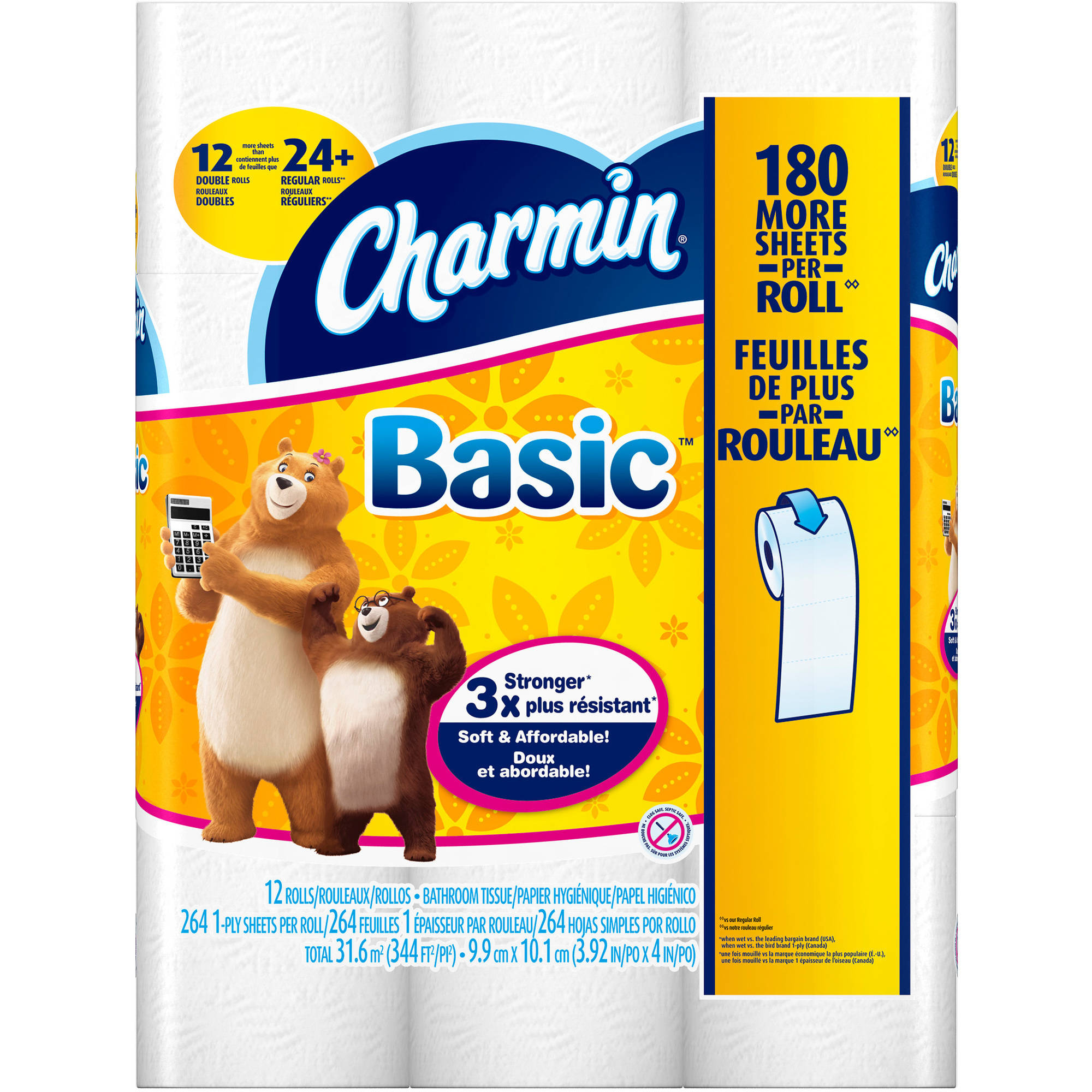 Charmin Basic Double Roll Bathroom Tissue, 12 rolls