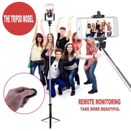 stainless steel bluetooth cell phone selfie stick monopod tripod for iphone black. Black Bedroom Furniture Sets. Home Design Ideas
