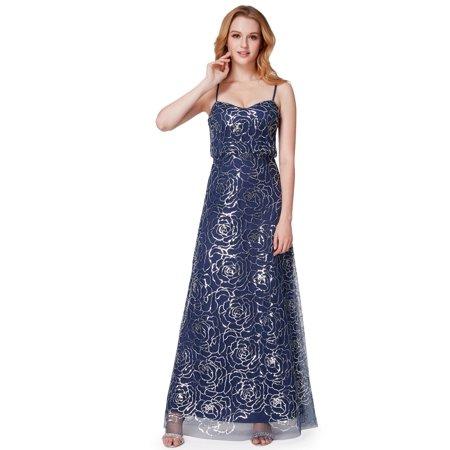 Ever Pretty Women S Floor Length Sparkling Blouson Evening Prom Wedding Guest Maxi Dresses For 07288 Navy Blue Us 14