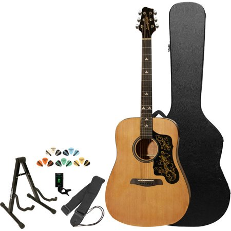 Sawtooth Beginner's Acoustic Dreadnought Guitar Kit with Custom Black Pickguard, Includes ChromaCast Hard Case and Accessories, Natural
