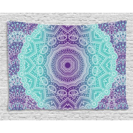 Purple and Turquoise Tapestry, Hippie Ombre Mandala Inner ...