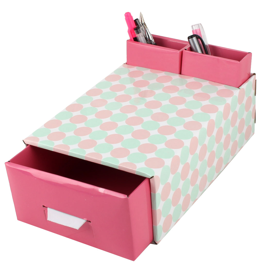 Unique Bargains Home Paper Dot Pattern DIY Foldable Book Holder Container Storage Box Case Red - image 5 de 6