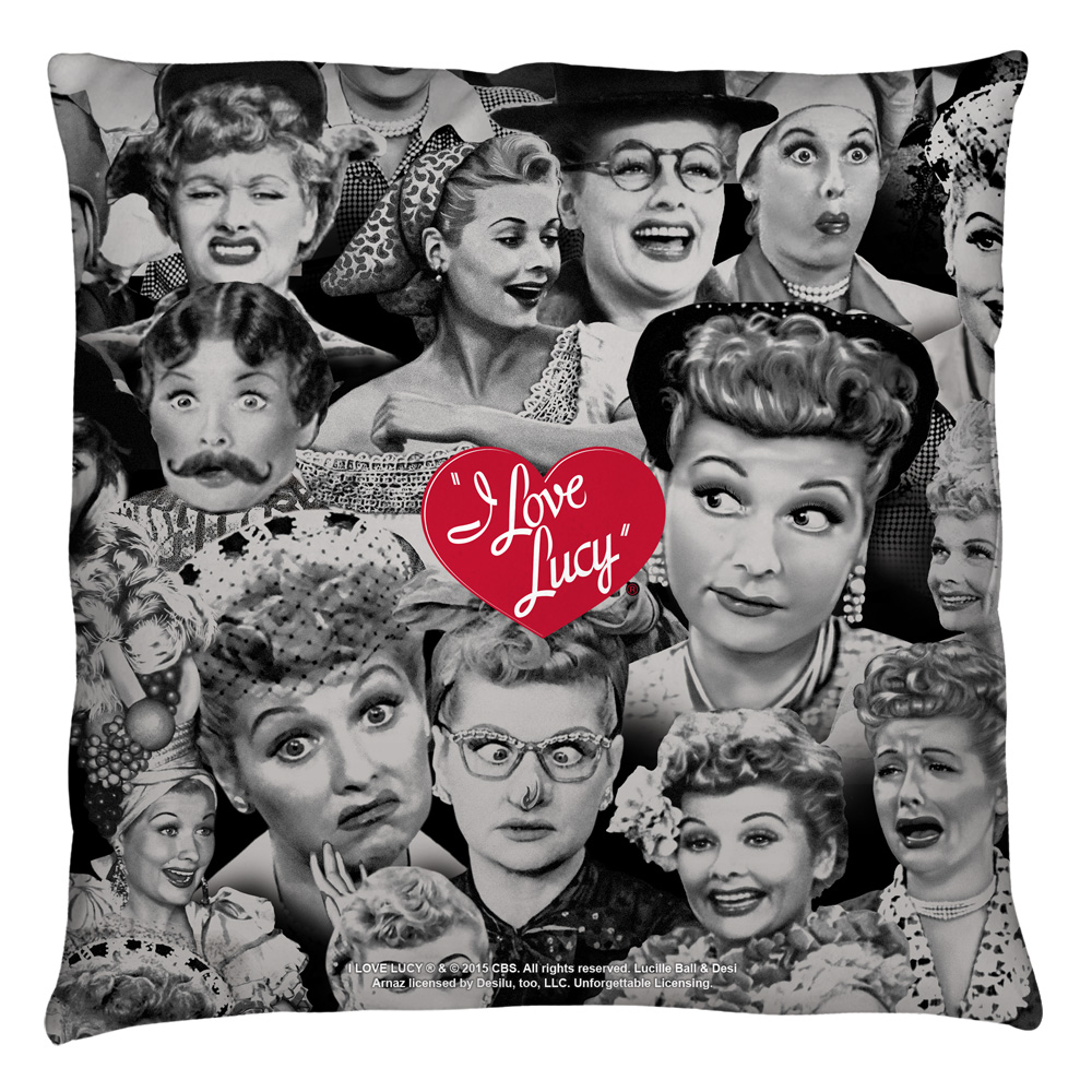 I Love Lucy Faces Throw Pillow White 14X14