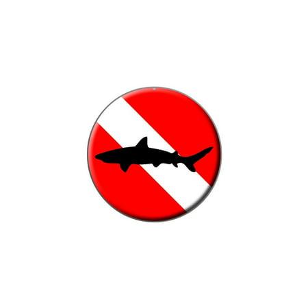 Diving Flag - Scuba Diver Dive - Shark Lapel Hat Pin Tie Tack Small Round Diver Collectible Scuba Diving Pin