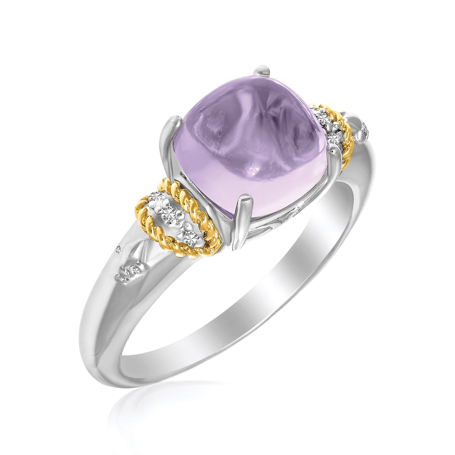 18K Yellow Gold & Sterling Silver Prong Set Square Amethyst and Diamond Ring Size 6 by Mia Diamonds