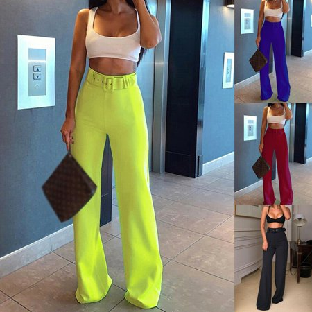 SUNSIOM Women Ladies Flared Belted High Waist Plain Wide Leg Palazzo Trousers Pants Belted Flared Pants