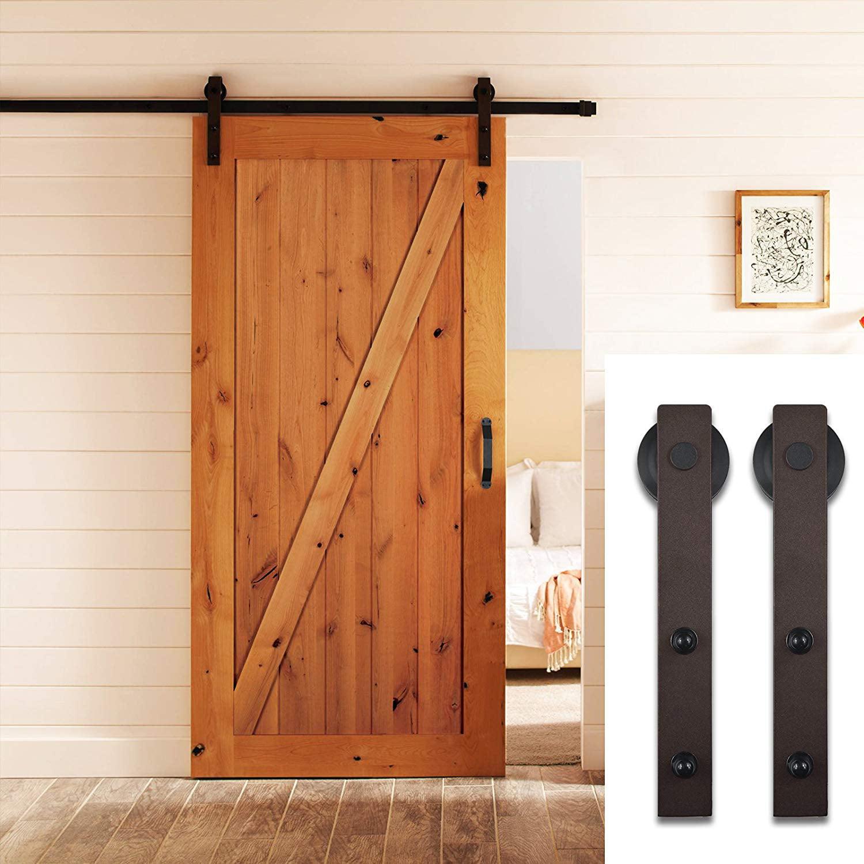 6.6 FT Sliding Barn Door Wood Hardware Set -Antique Bronze Style, Brown Track System