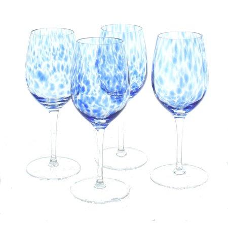 Blue Wine Glasses (Blue Rose Polish Pottery Cobalt Confetti Wine Glass)