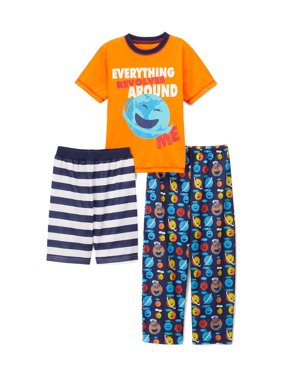 Graphic Top, Short and Sleep Wide Leg Pant, 3-Piece Pajama Set (Little Boy & Big Boy)