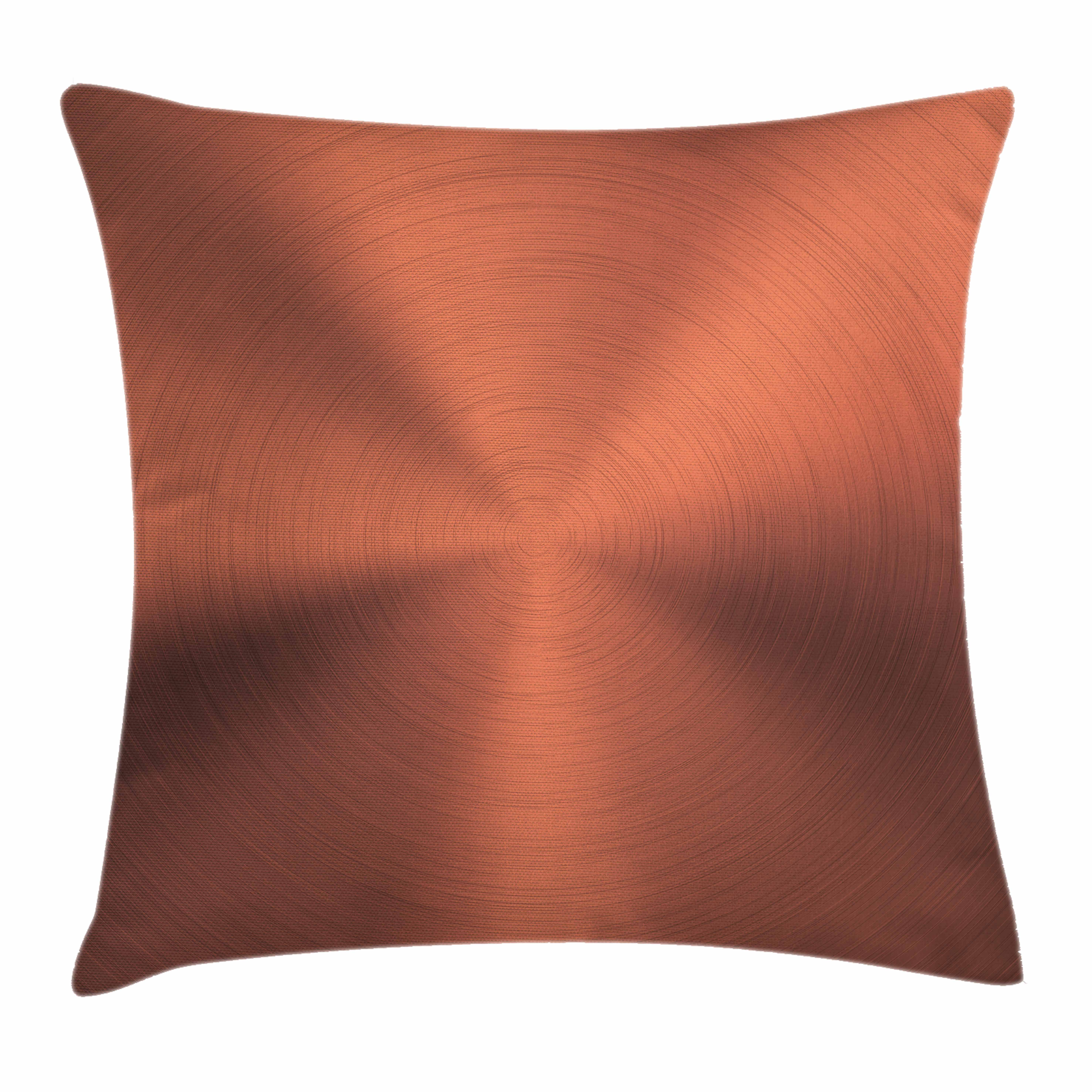Copper Decor Throw Pillow Cushion Cover, Realistic Circular Brushed Texture Image Iron Stainless Steel Business Modern, Decorative Square Accent Pillow Case, 16 X 16 Inches, Bronze, by Ambesonne