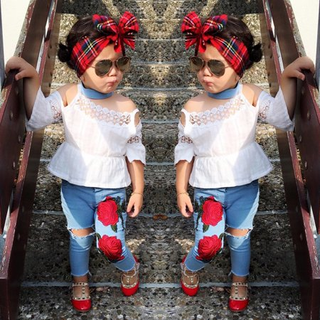 Boutique Toddler Kids Girls Lace Tops Flower Denim Pants Jeans Outfits Set Clothes (Boutique Toddler Girl Clothes)